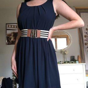 Dresses & Skirts - Navy blue flowy chiffon dress